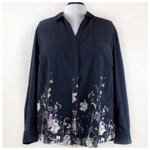 The Limited botanical border high low blouse